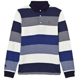 Mayoral Navy and White Stripe Long Sleeve Polo