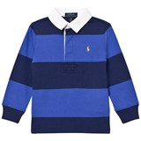Ralph Lauren Navy and Grey Striped Rugby Top