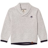 Timberland Kids Grey Shawl Collar Branded Jumper