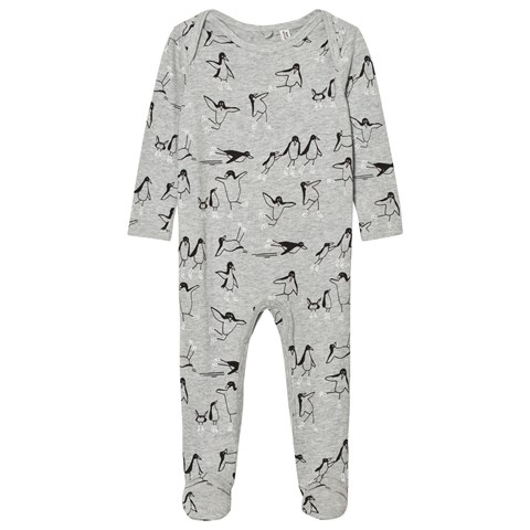 Stella McCartney Kids Grey Penguins Print Rufus Babygrow