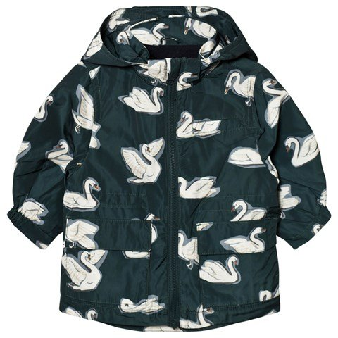 Stella McCartney Kids Navy Swan Print Beck Parka