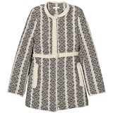 Chloé Black and White Jacquard Coat with Faux Fur Lining