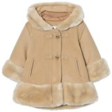 Chloé Camel Wool and Faux Fur Hooded Coat