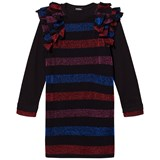 Diesel Black with Multi-Colour Striped Long-Sleeved Dress