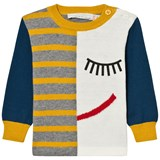 Stella McCartney Kids Blue and Yellow Face Print Jumper