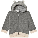 Moncler Grey Wool Cardigan with Hood