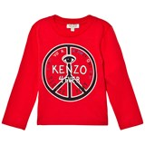 Kenzo Kids Red Logo and Peace Sign Print Tee