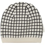 Tinycottons Beige and Black Grid Beanie