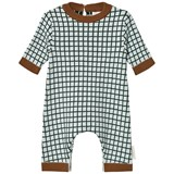 Tinycottons Light Blue and Dark Green Grid Onesie