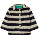 Bobo Choses Black and White Striped Sheepskin jacket