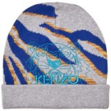 Kenzo Kids Grey Multi Tiger and Animal Print Beanie
