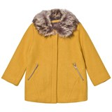 Catimini Yellow Lurex Coat with Faux Fur Collar