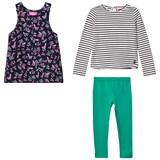 Joules Navy Floral Pinafore Dress, Tee and Leggings Set
