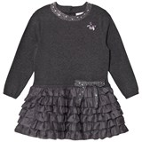 Le Chic Dark Grey Ruffle Bow Dress