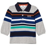BOSS Grey Multi Stripe Long Sleeve Polo