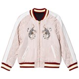 Chloé Embroidered Pale Pink and Black Satin Embroidered Bomber Jacket