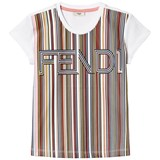 Fendi White Multi Stripe Fendi Tee