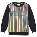 Fendi Navy Multi Stripe Branded Sweatshirt