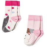 Joules Pink Cat and Dog Socks 2 Pack