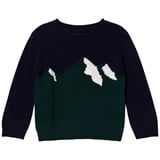 Il Gufo Navy and Green Mountain Intarsia Sweater