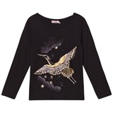 Billieblush Black and Gold Bird Embroidered Tee