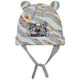 Kenzo Kids Pale Blue Tiger Print Beanie with Ears