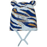 Kenzo Kids Blue Tiger Print Beanie with Ears