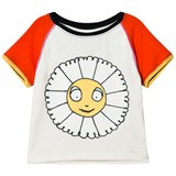 Margherita Kids Cream Daisy Print T-Shirt with Flocking