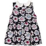 Margherita Kids Black Floral Printed Daisy Collar Dress