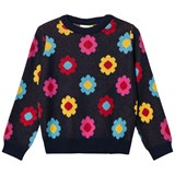 Margherita Kids Black Multi Daisy Double Knit Jumper