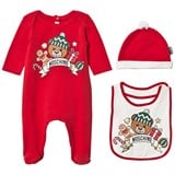 Moschino Red Christmas Bear Print Babygrow, Hat and Bib Gift Box