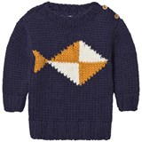 Bobo Choses Navy Fish Intarsia Knitted Jumper
