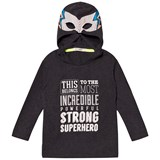 Billybandit Dark Grey Super Hero Slogan Hooded Tee
