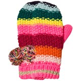 Le Big Multi Stripe Knitted Bobble Mittens