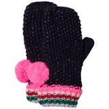 Le Big Navy and Stripe Knitted Bobble Mittens