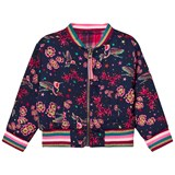 Le Big Navy Flower and Bird Reversible Bomber Jacket