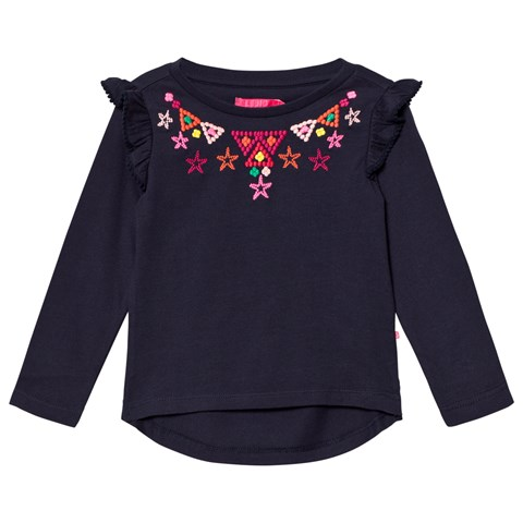 Le Big Navy with Embroidered Detail and Frill Sleeve Tee