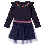 Le Big Navy Jersey and Tulle Embroidered Dress