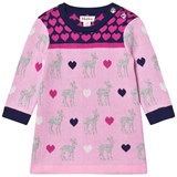 Hatley Pink Deer and Heart Design Knit Dress
