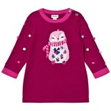 Hatley Purple Penguin Knit Dress with Pom Pom Sleeves