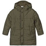 Wynken Khaki Long Line Puffer Coat with Double Hood