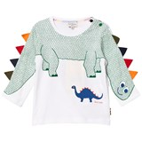 Paul Smith Junior White Dinosaur with Spines on Sleeve Tee
