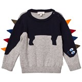 Paul Smith Junior Grey Dinosaur Knit Jumper with Spine Applique