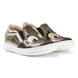 Step2wo Gold Eyes Applique Slip-On Trainers