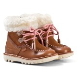Kickers Tan Suede Faux Fur Lined Boots