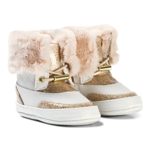 Michael Kors White And Gold Glitter Zia Baby Shoes