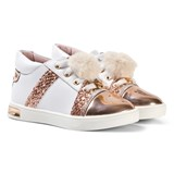 Michael Kors Rose Gold Pom Pom Zia Olly Raz-T Laced Leather Trainers