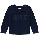 Levi's Navy Waffle Knit Branded Jumper