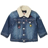 Levi's Blue Washed Trucker Jacket with Teddy Collar and Embroidered Badges