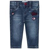 Levi's Blue Mid Wash Pull Up Jeans with Badge Embroidery